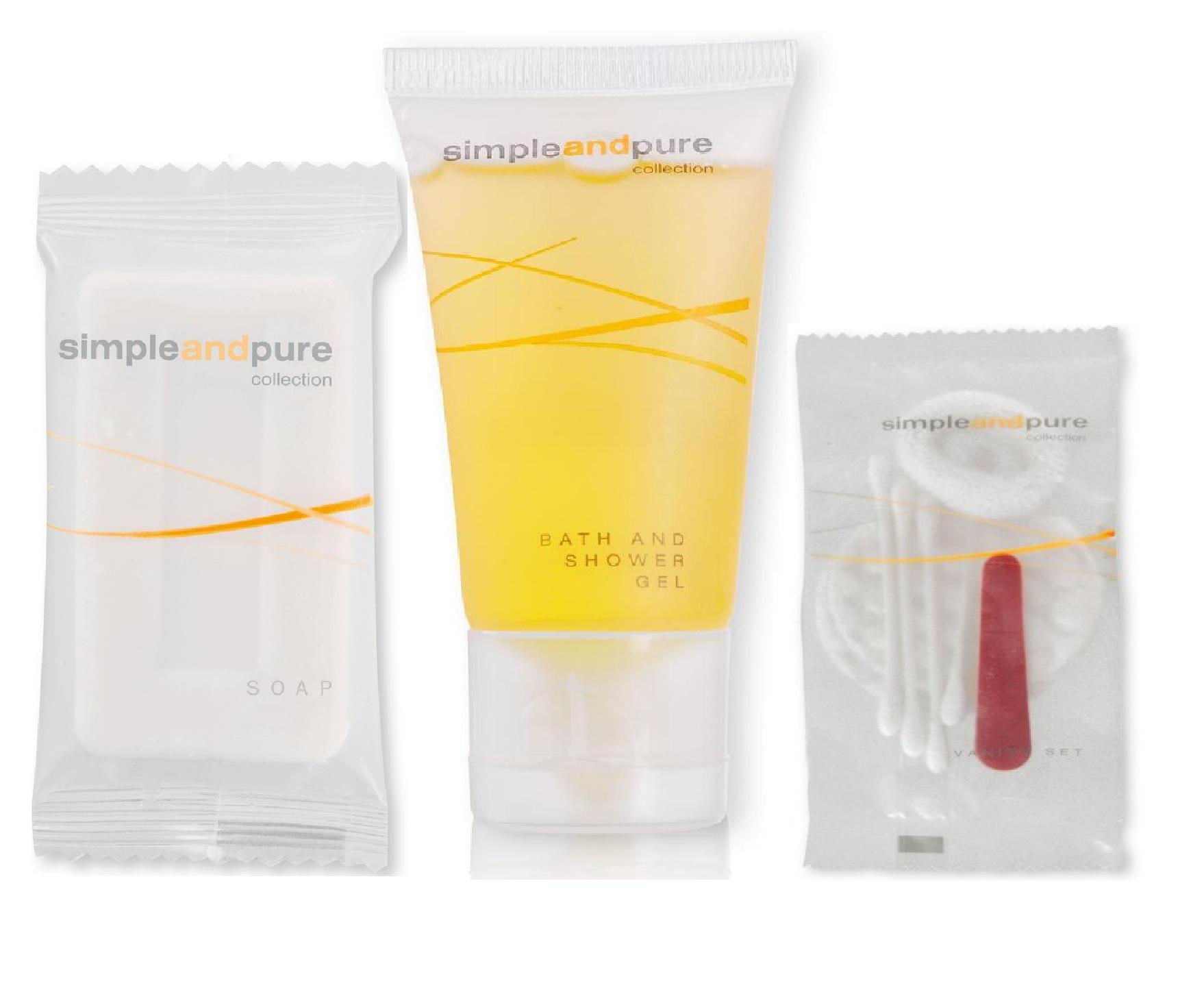 Sestava hotelové kosmetiky - mýdlo 30g + šampon 30 ml + hygienický set, 250 ks
