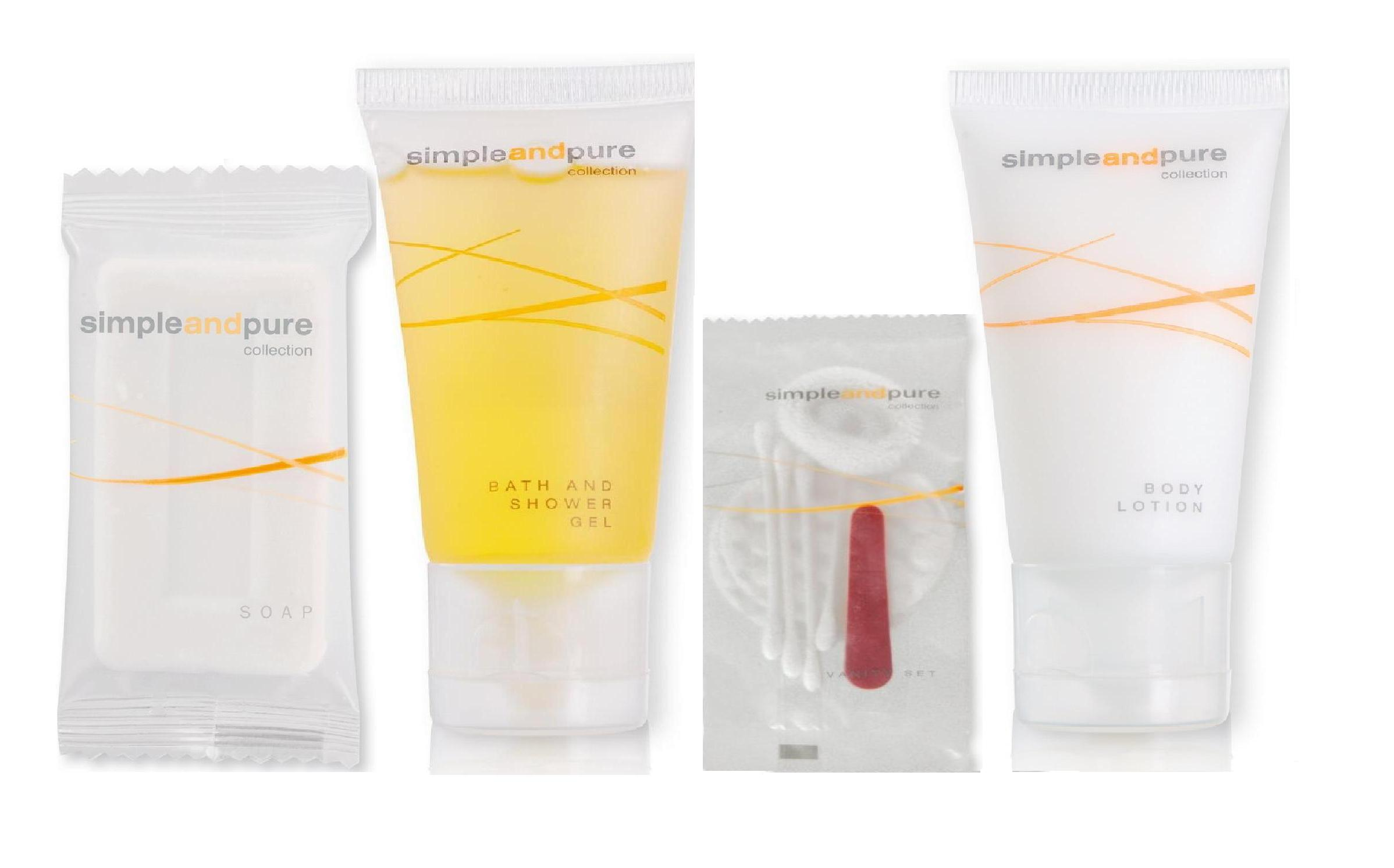 Sestava hotelové kosmetiky - mýdlo 30g + šampon 30 ml + tělové mléko 40 ml + hygienický set, 250 ks