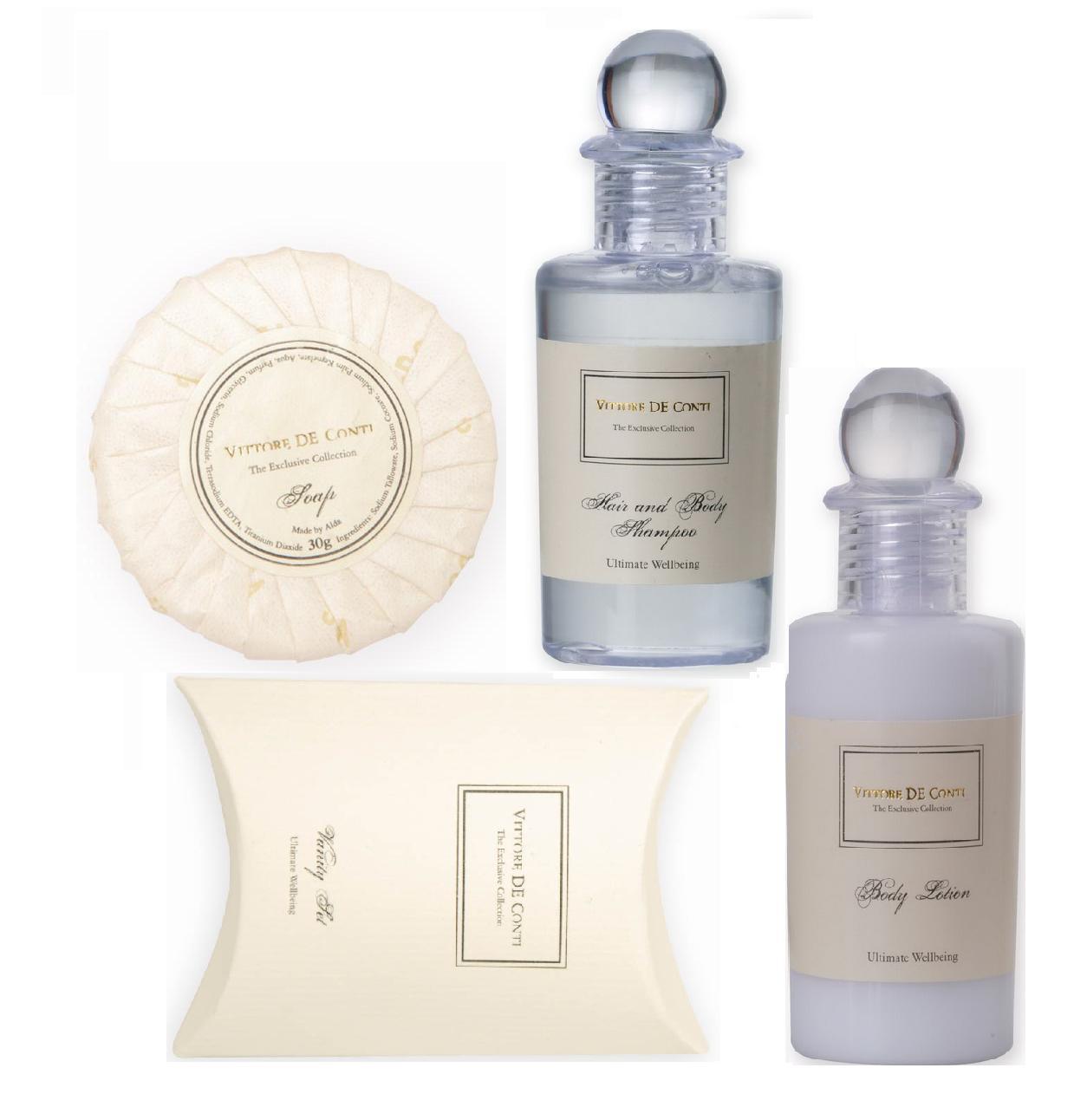 Sestava hotelové kosmetiky - mýdlo 30g + šampon 40 ml + tělové mléko 40 ml + hygienický set, 250 ks