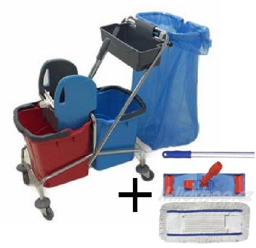 Úklidový vozík DOUBLE VAK 2x25l  + FLIPPER Mop sestava