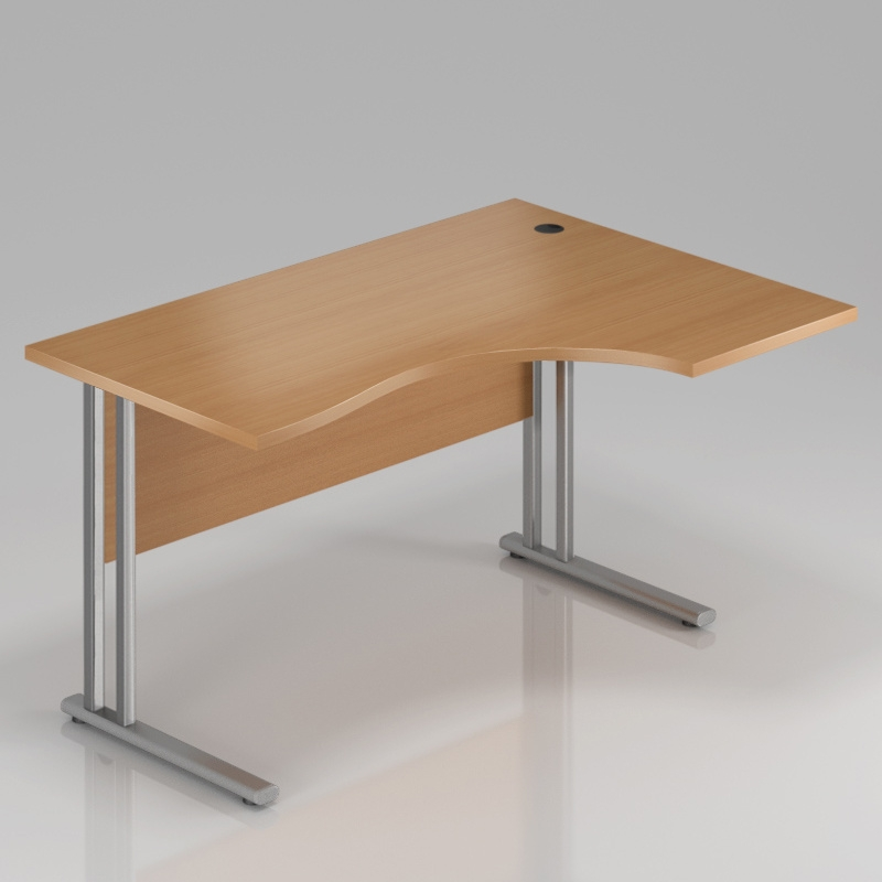 Ergonomický stůl  V-LINE 140 x 70/100 cm s kovovou podloží pravý - buk