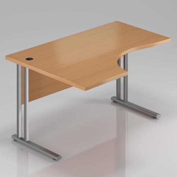 Ergonomický stůl  V-LINE 140 x 70/100 cm s kovovou podloží levý - buk