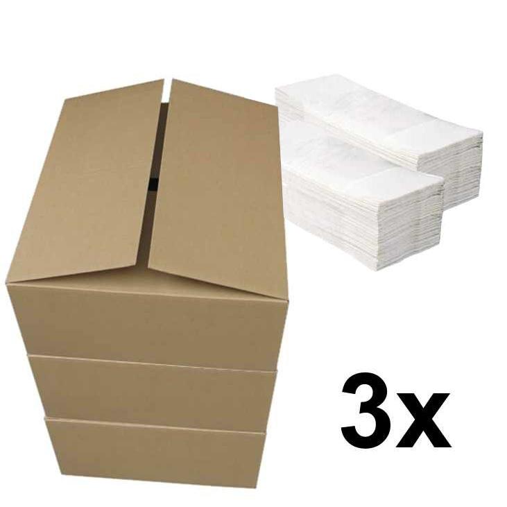 Papírové ručníky ZZ PLUS bílé pack 3 x 4000 ks