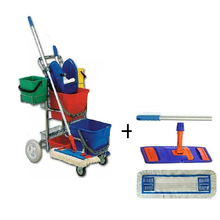 Dvojkbelíkový úklidový vozík TERRY LINE I + FLIPPER Mop sestava
