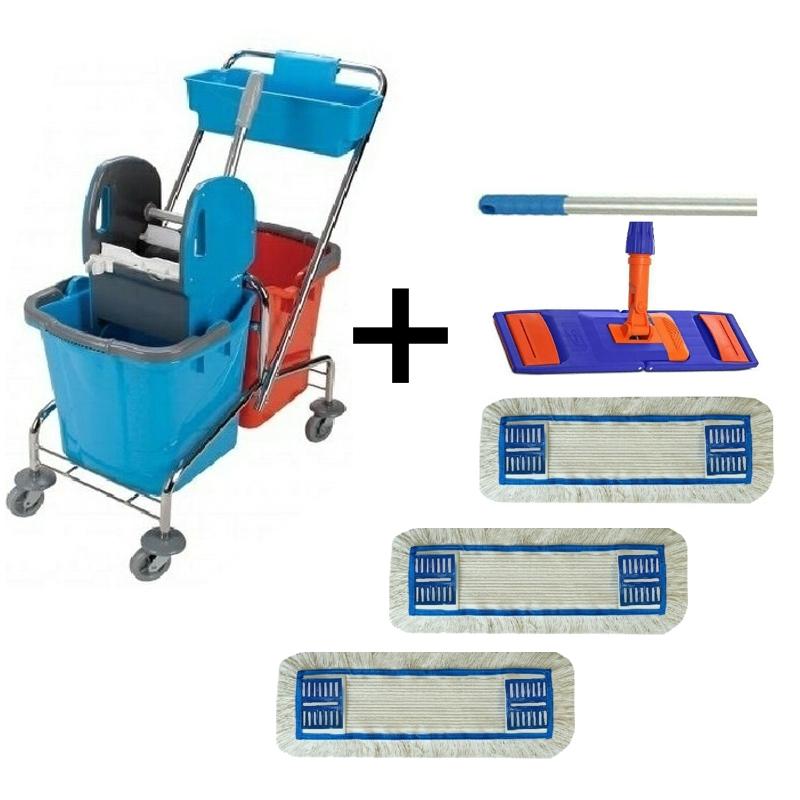 Úklidový vozík DOUBLE 2 x 25 l + FLIPPER mop sestava se 3 návleky