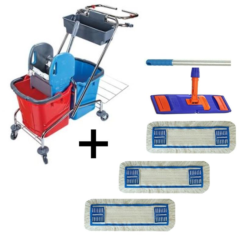 Úklidový vozík DOUBLE VAK 2x25l  + FLIPPER Mop sestava se 3 návleky